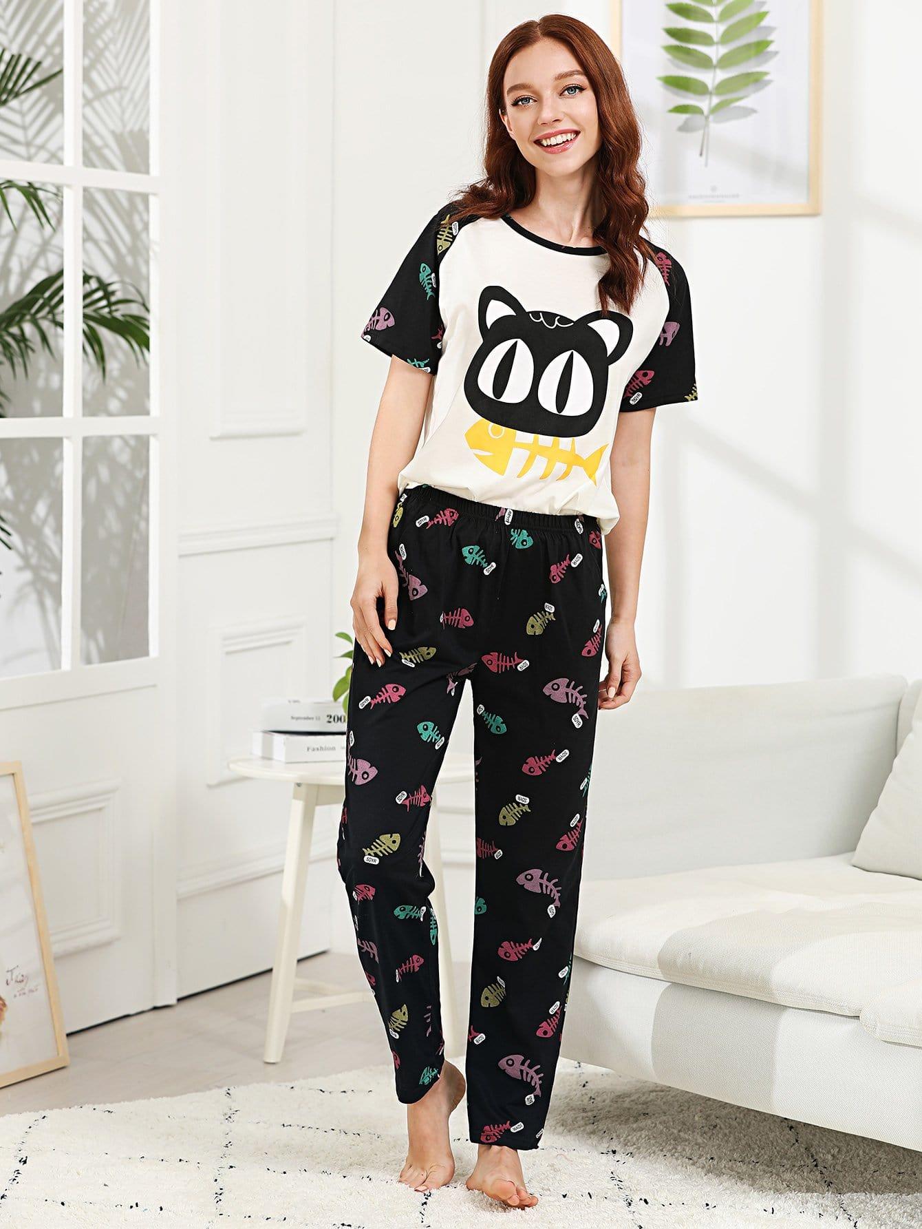 Cartoon Print Pajama Set all over cartoon print pajama set