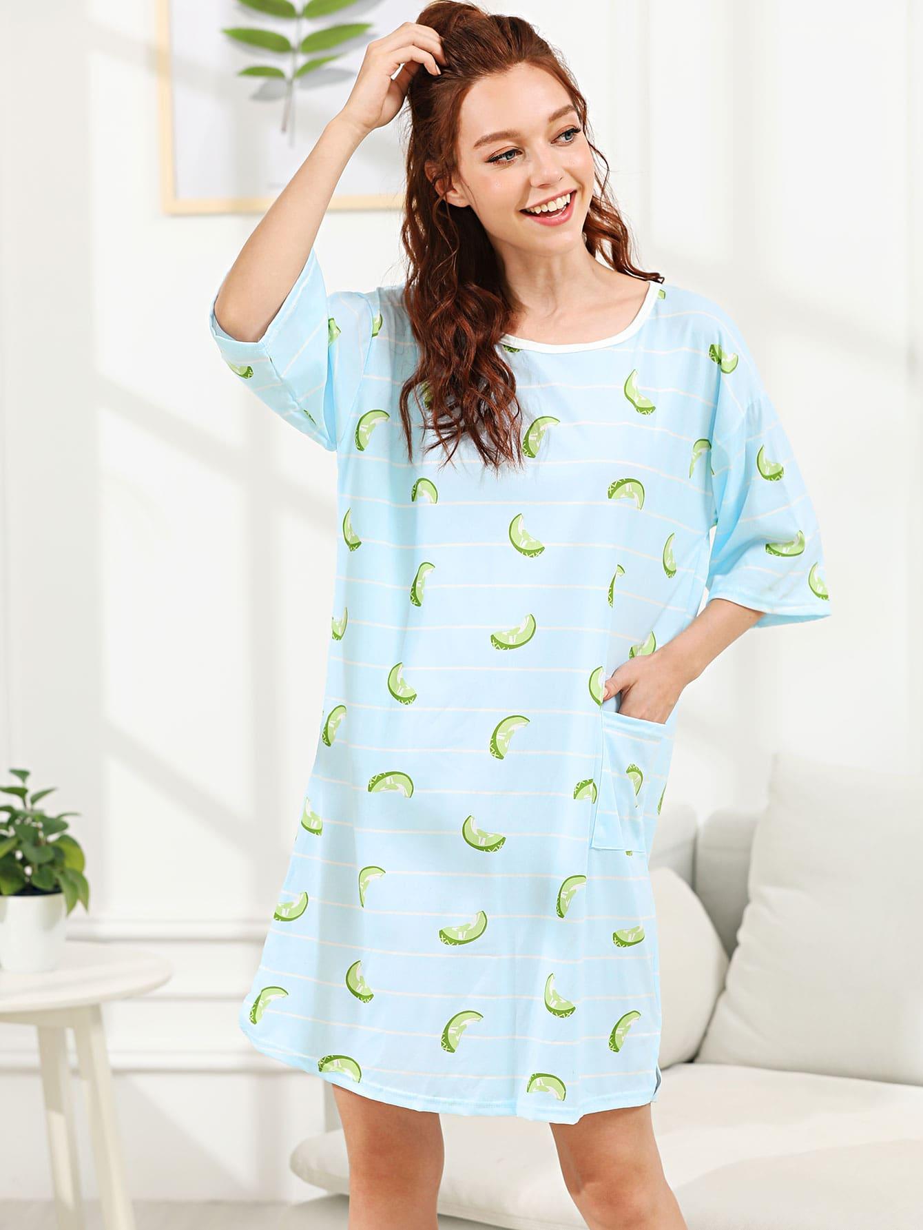 Fruit Print Striped Night Dress fruit print striped night dress with eye mask