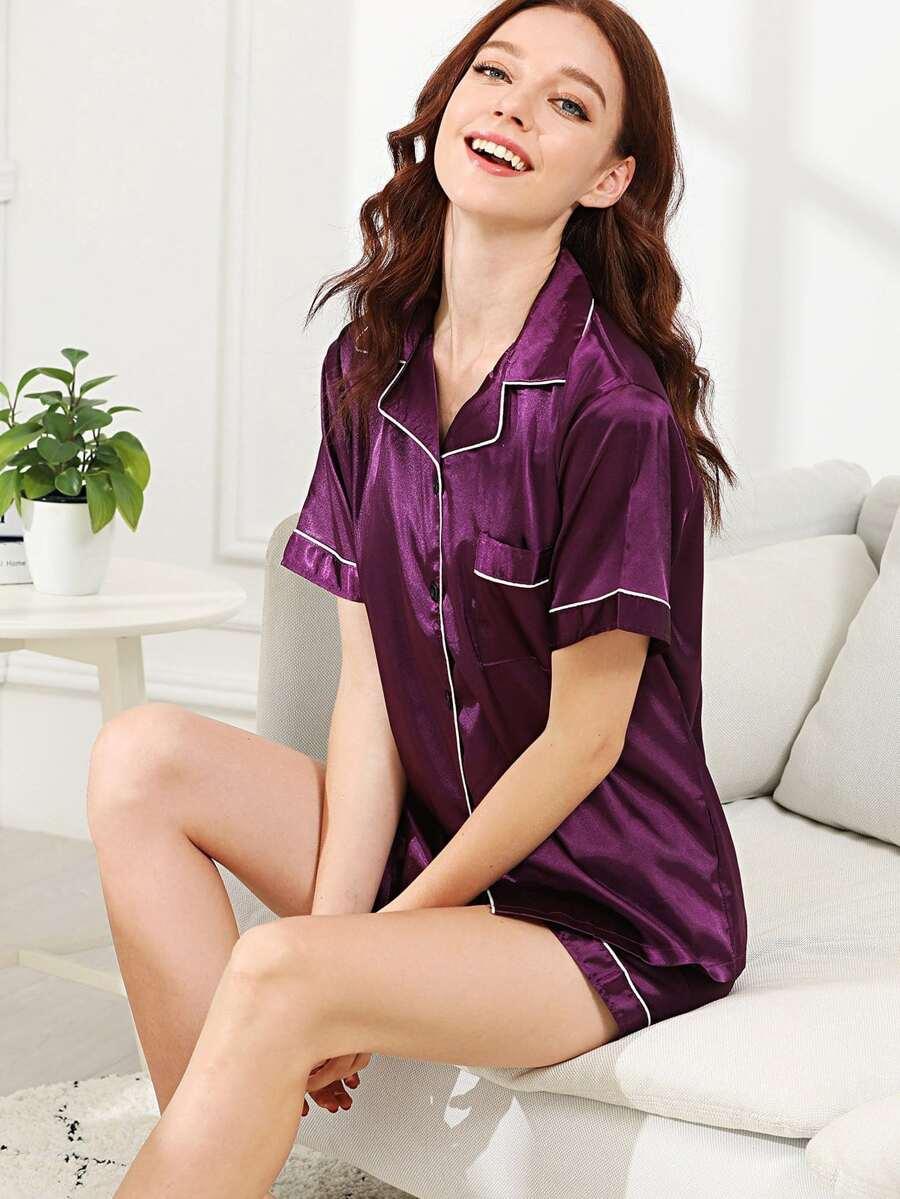 Contrast Binding Button Up Pajama Set by Sheinside