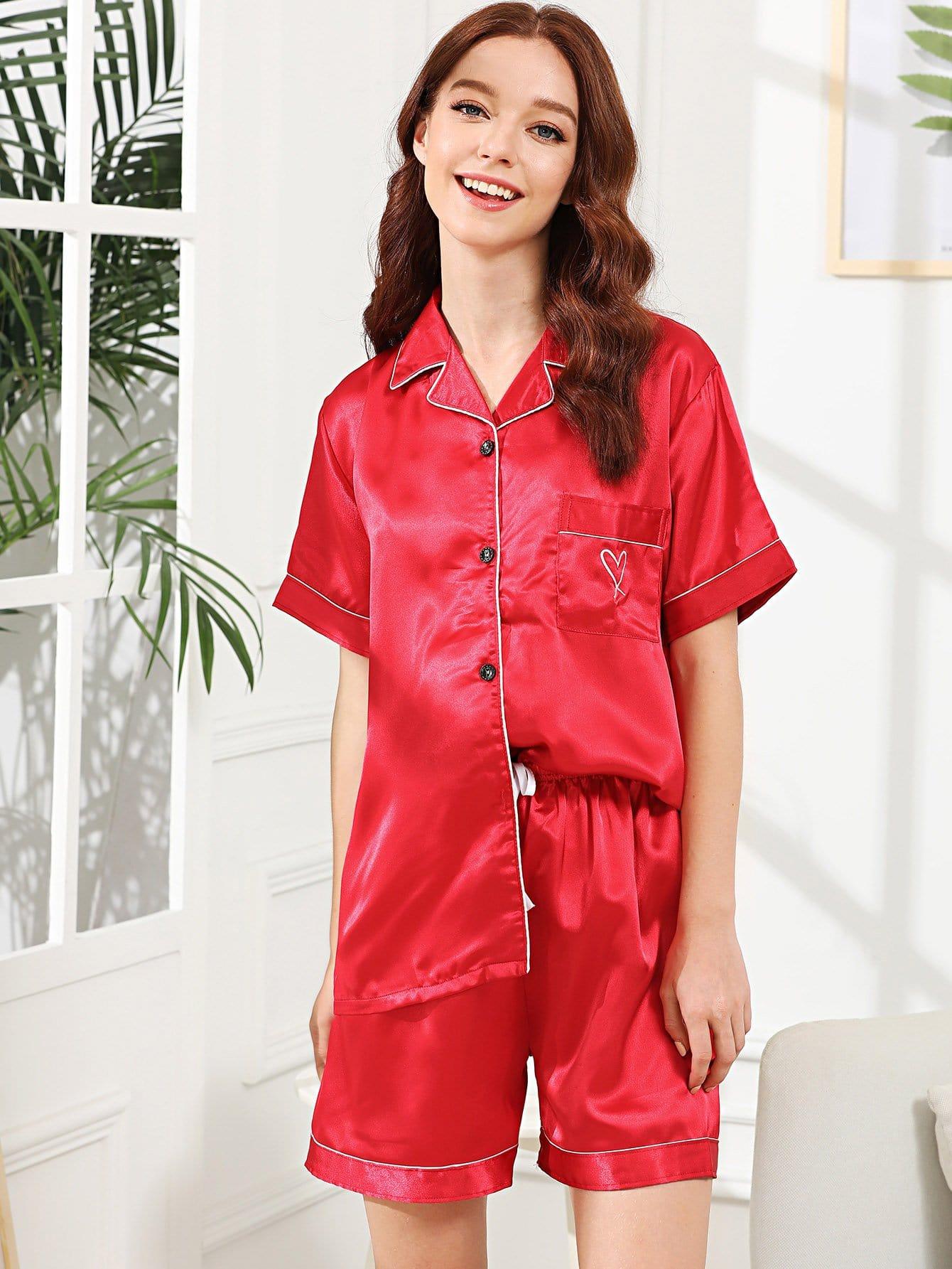 Heart Print Contrast Binding Pajama Set contrast binding embroidered long pajama set