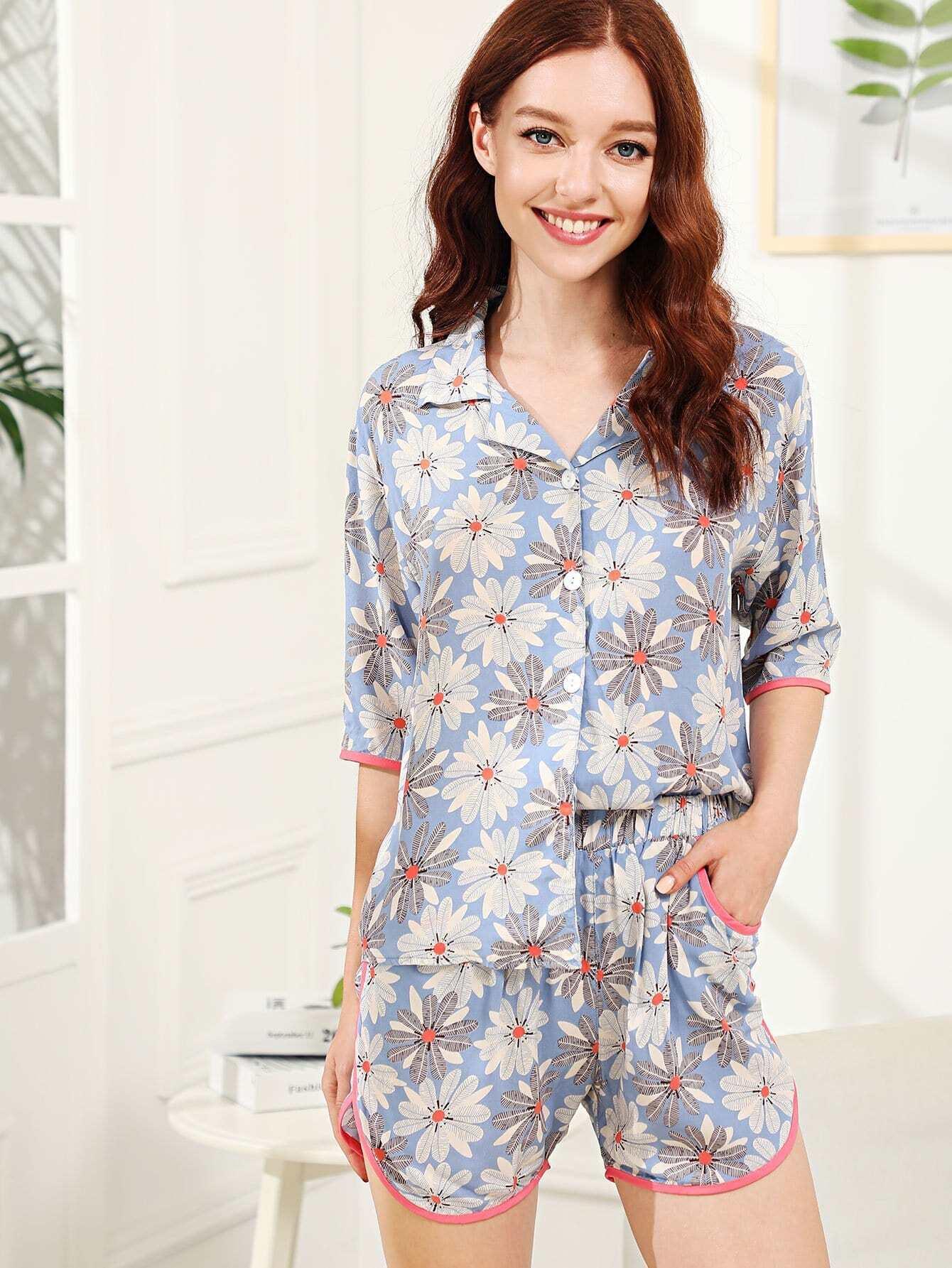 Flower Print Contrast Binding Pajama Set contrast binding embroidered long pajama set
