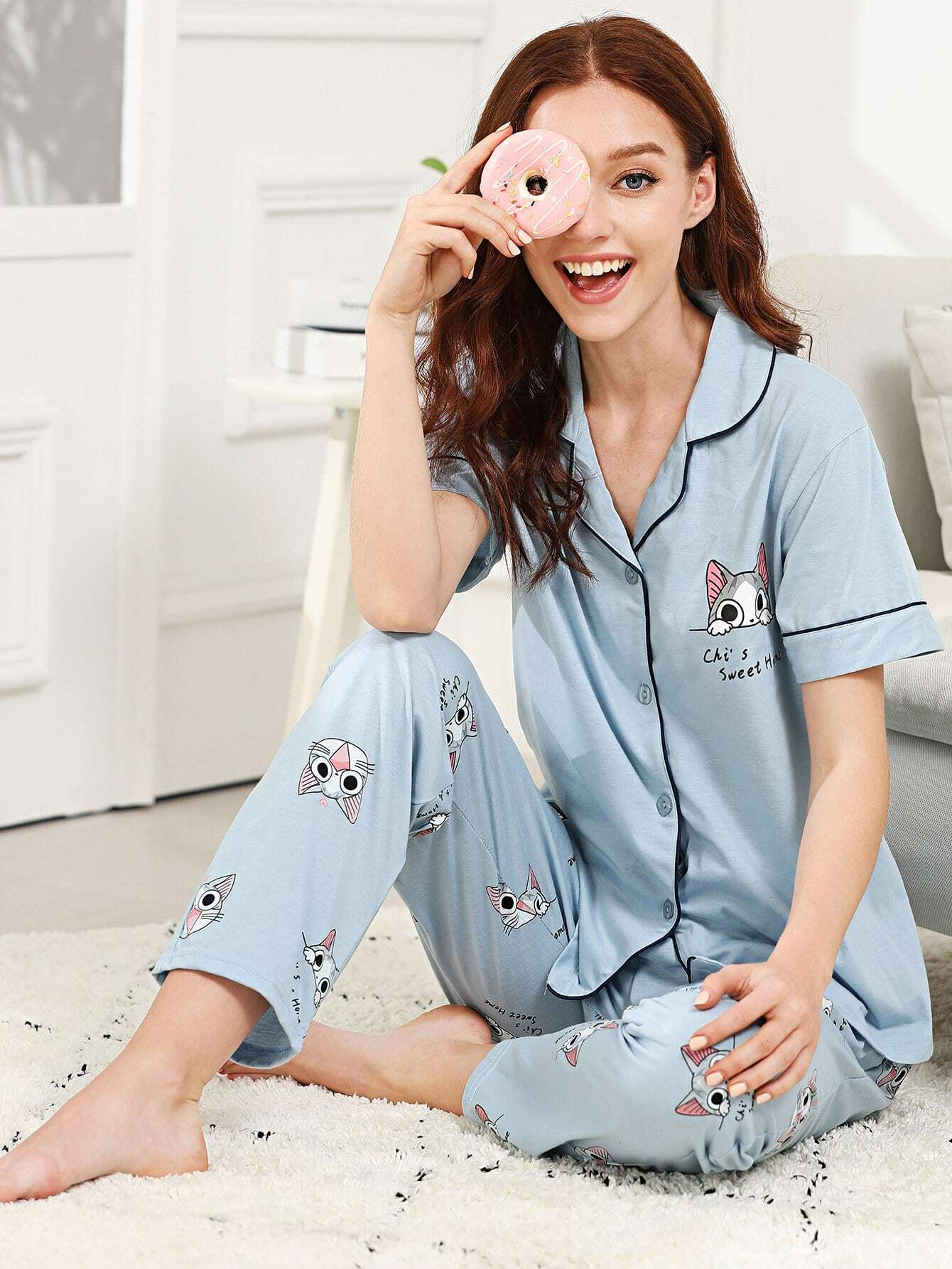 Cat & Letter Print Pajama Set all over cat print pajama set