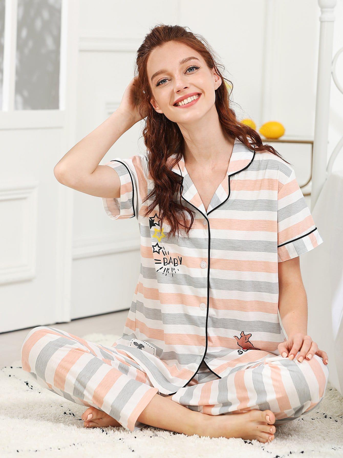 Cartoon & Letter Print Striped Pajama Set all over cartoon print pajama set