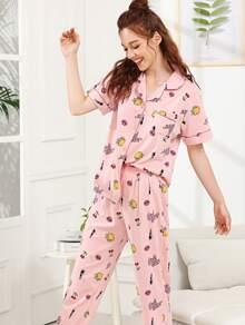 Fruit & Letter Print Pajama Set