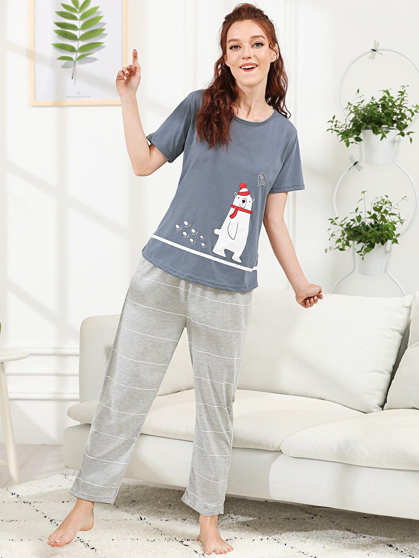 Bear & Letter Print Striped Pajama Set