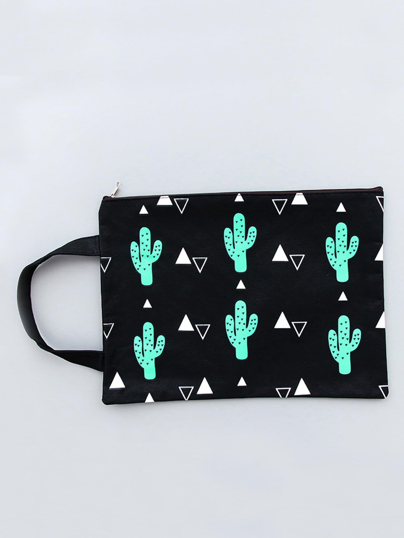 Cactus Print File Bag