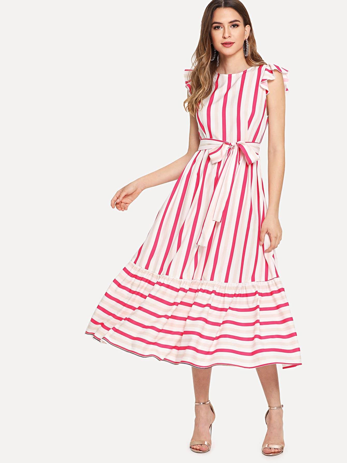 Self Belted Ruffle Trim Striped Dress self belted solid ruffle trim dress