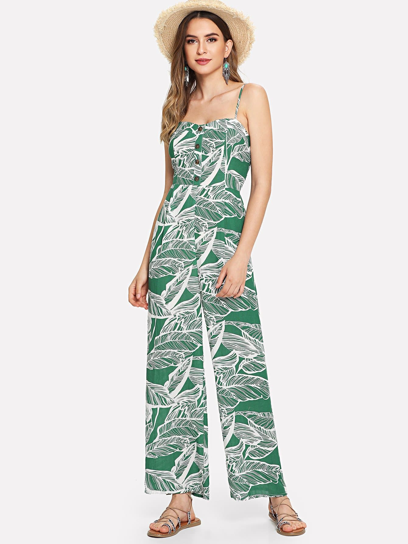 Button Front Jungle Leaf Print Wide Leg Cami Jumpsuit wide leg leaf print tube jumpsuit