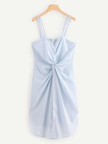 Twist Front Striped Cami Dress