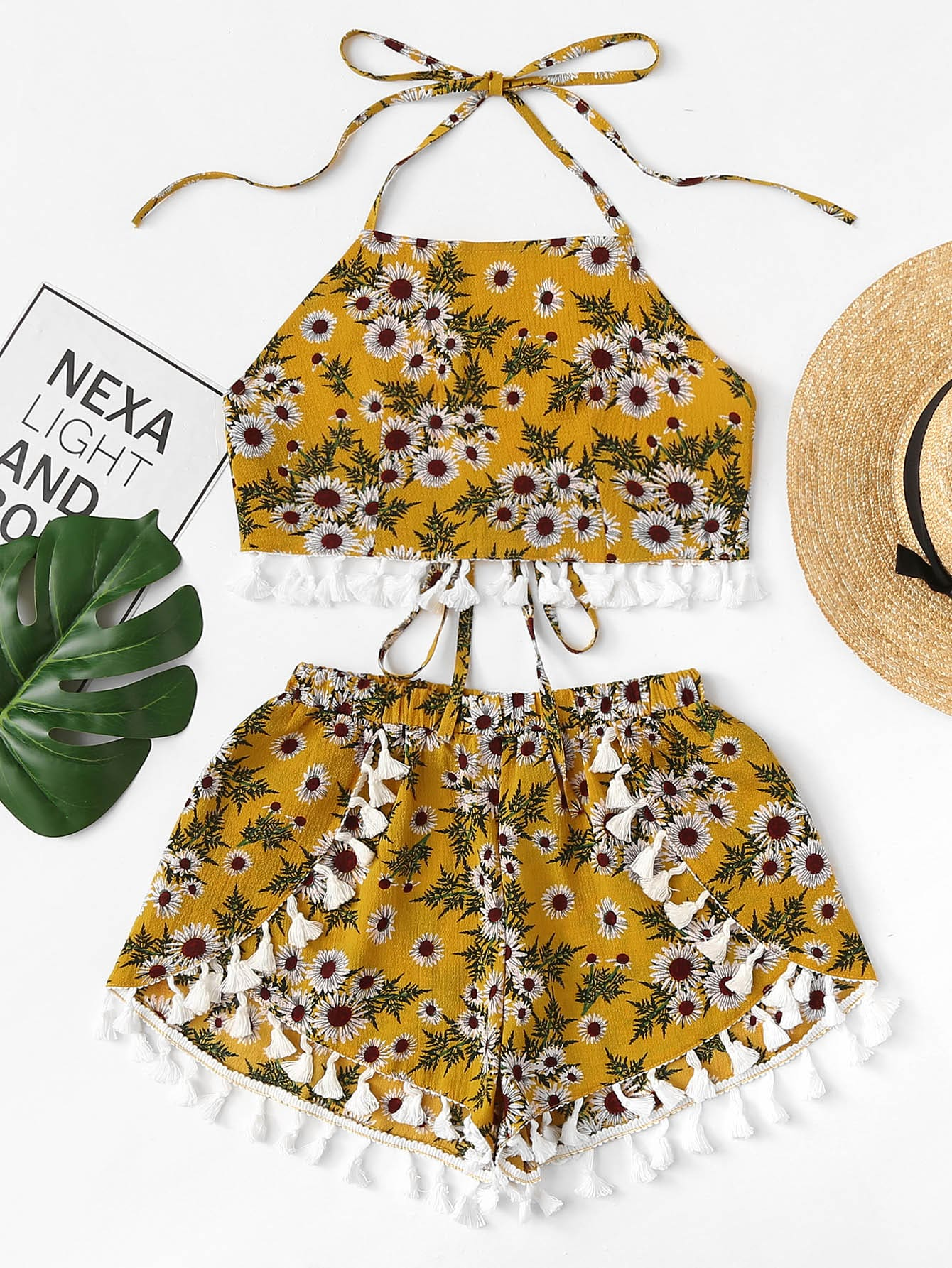 Fringe Trim Floral Print Halter Top With Shorts