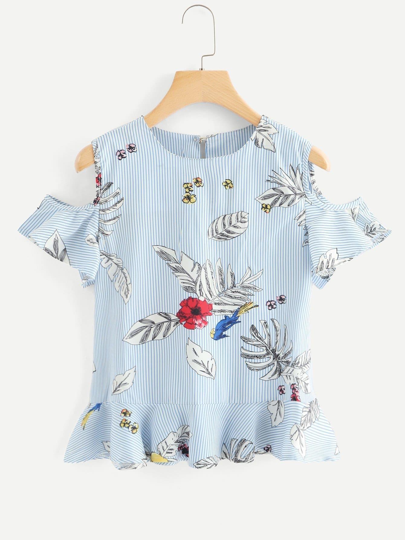 Купить Блузка с принтом листья и открытыми плечами, null, SheIn