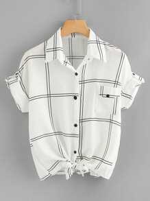 Knot Hem Plaid Shirt