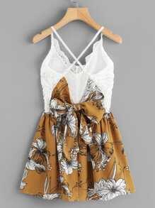 Floral Print Contrast Lace Cami Dress
