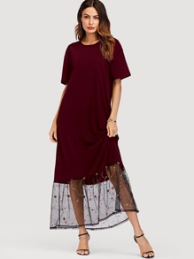 Embroidered Mesh Hem Panel Dress