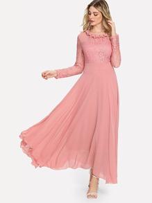 Contrast Lace Flowy Dress