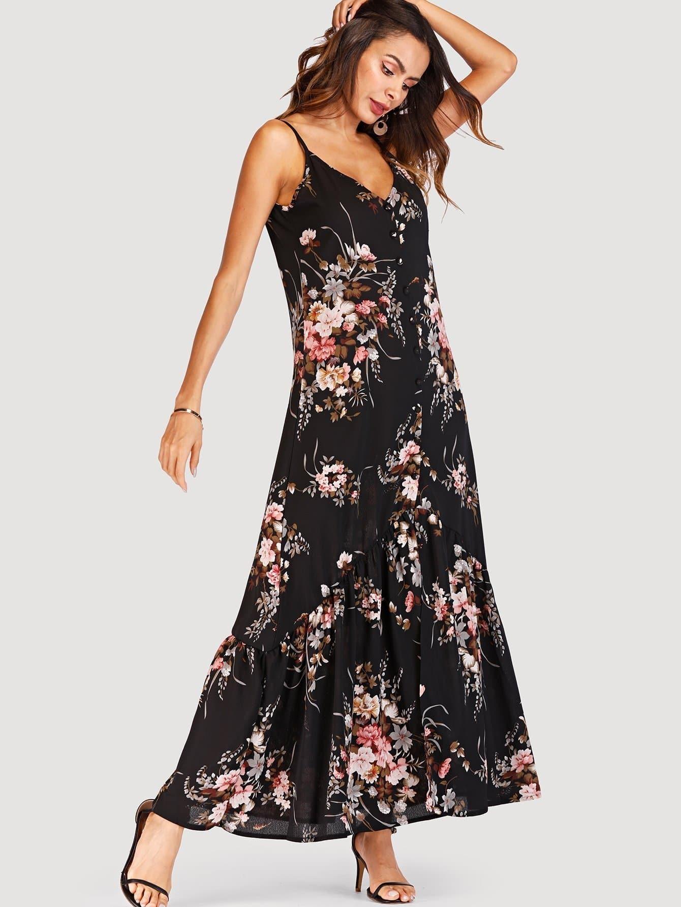 Floral Print Button Detail Cami Dress patriot pl 820