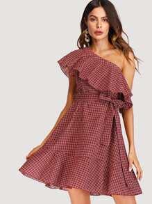 One Shoulder Ruffle Hem Plaid Dress