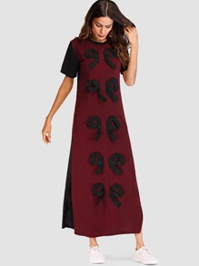 Bow Decorated Split Side Tee Dress
