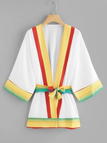 Stripe Tape Panel Belted Kimono