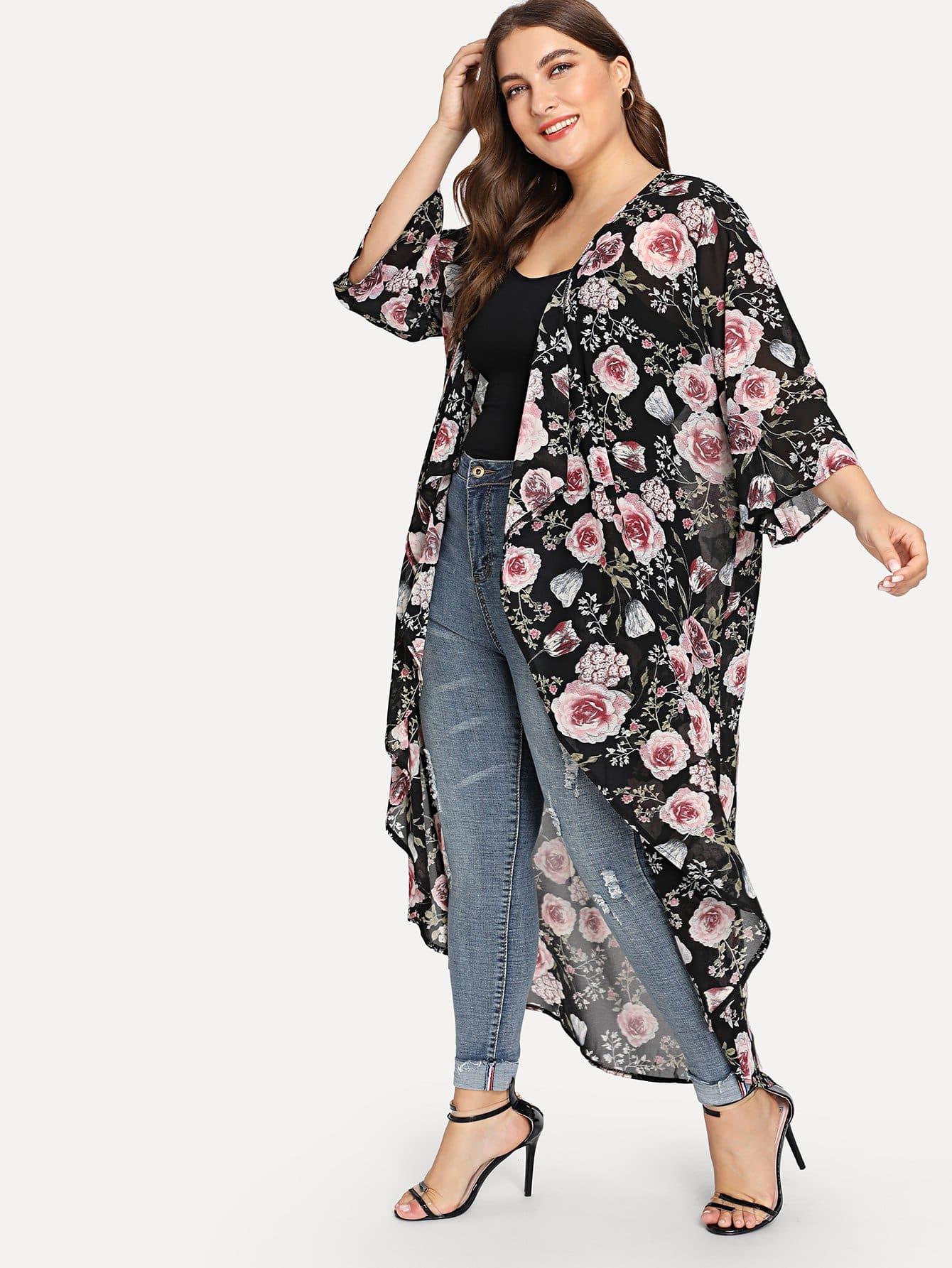 Plus Floral Print Dip Hem Kimono knot hem star print kimono