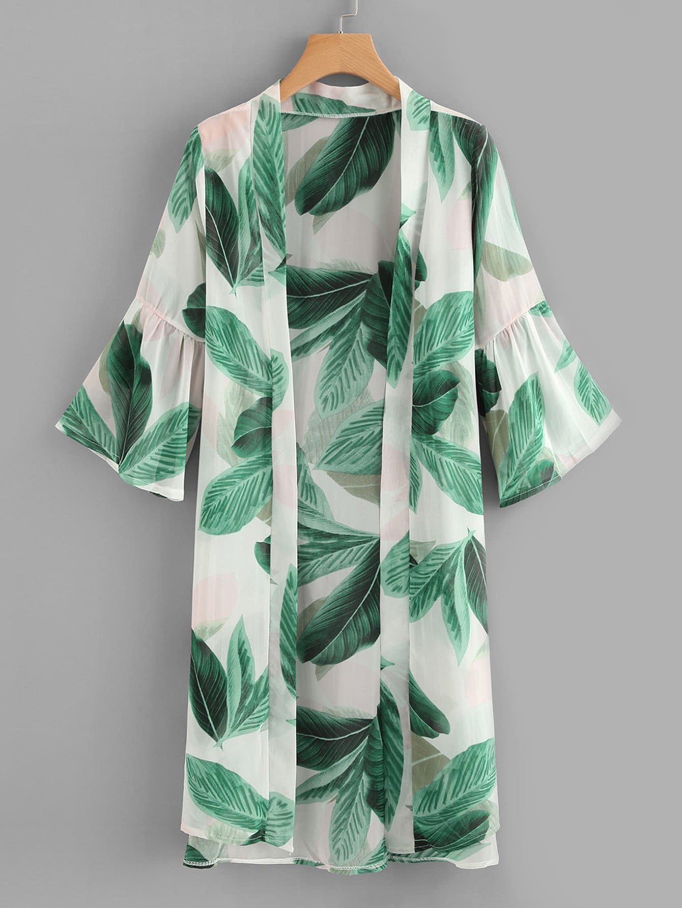 Leaf Print Flounce Sleeve Kimono contrast lace striped star print dress