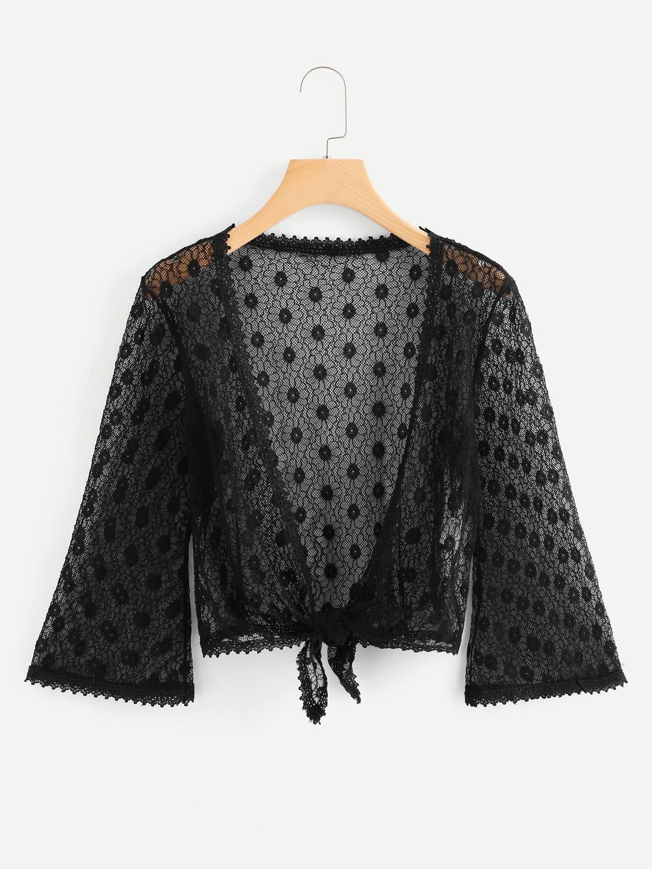 Lace Knot Hem Kimono knot hem star print kimono