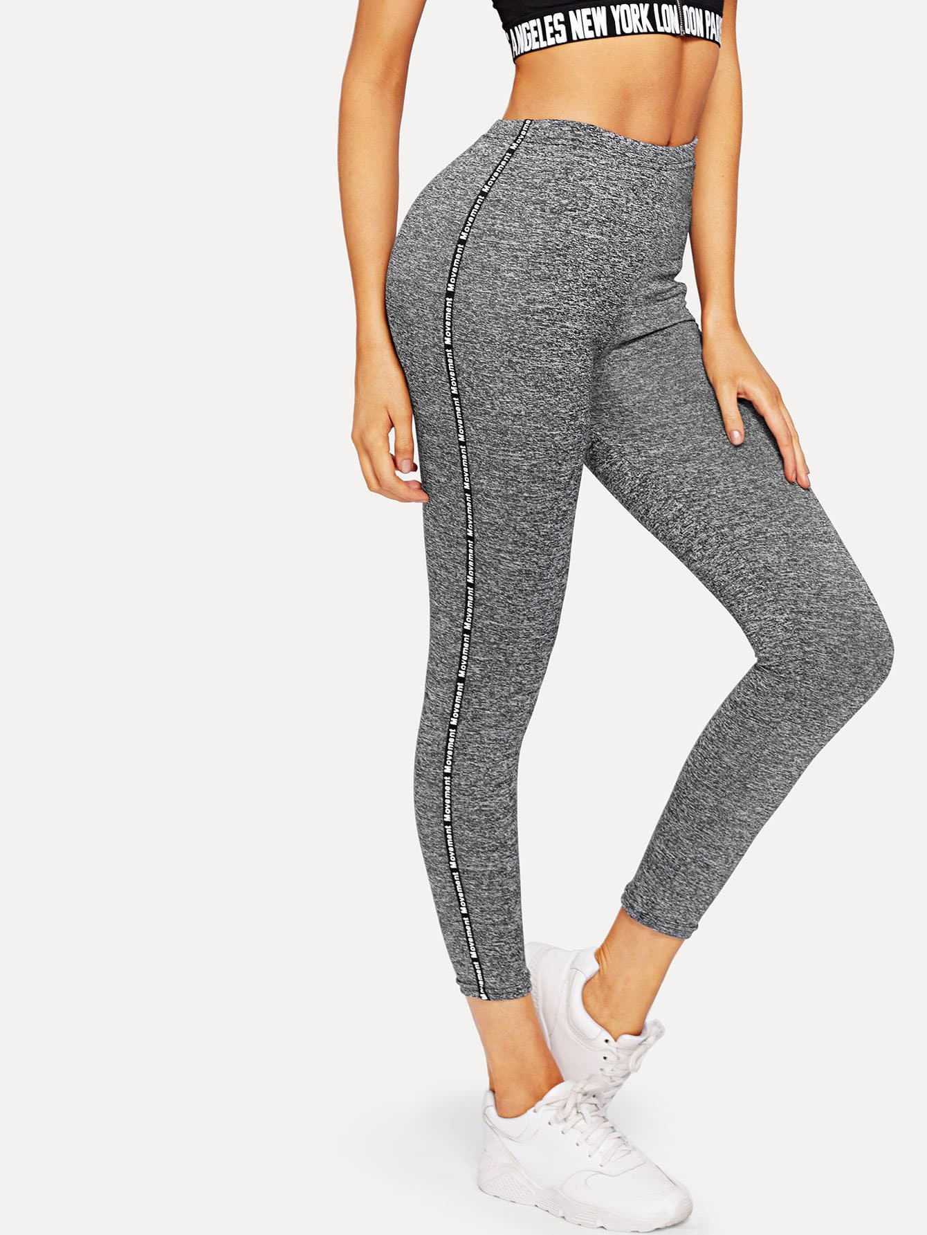 Letter Tape Side Leggings letter tape detail ladder cut out leggings