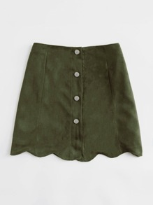 Scallop Hem Single Breasted Suede Skirt