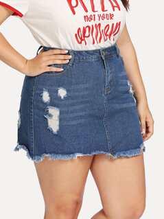Ripped Detail Raw Hem Skirt