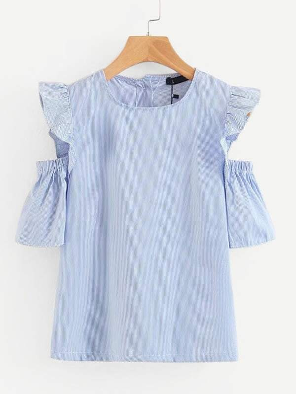 Frill Trim Open Shoulder Blouse open shoulder frill trim plaid dress
