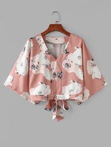 Tie Back Kimono Sleeve Florals Blouse