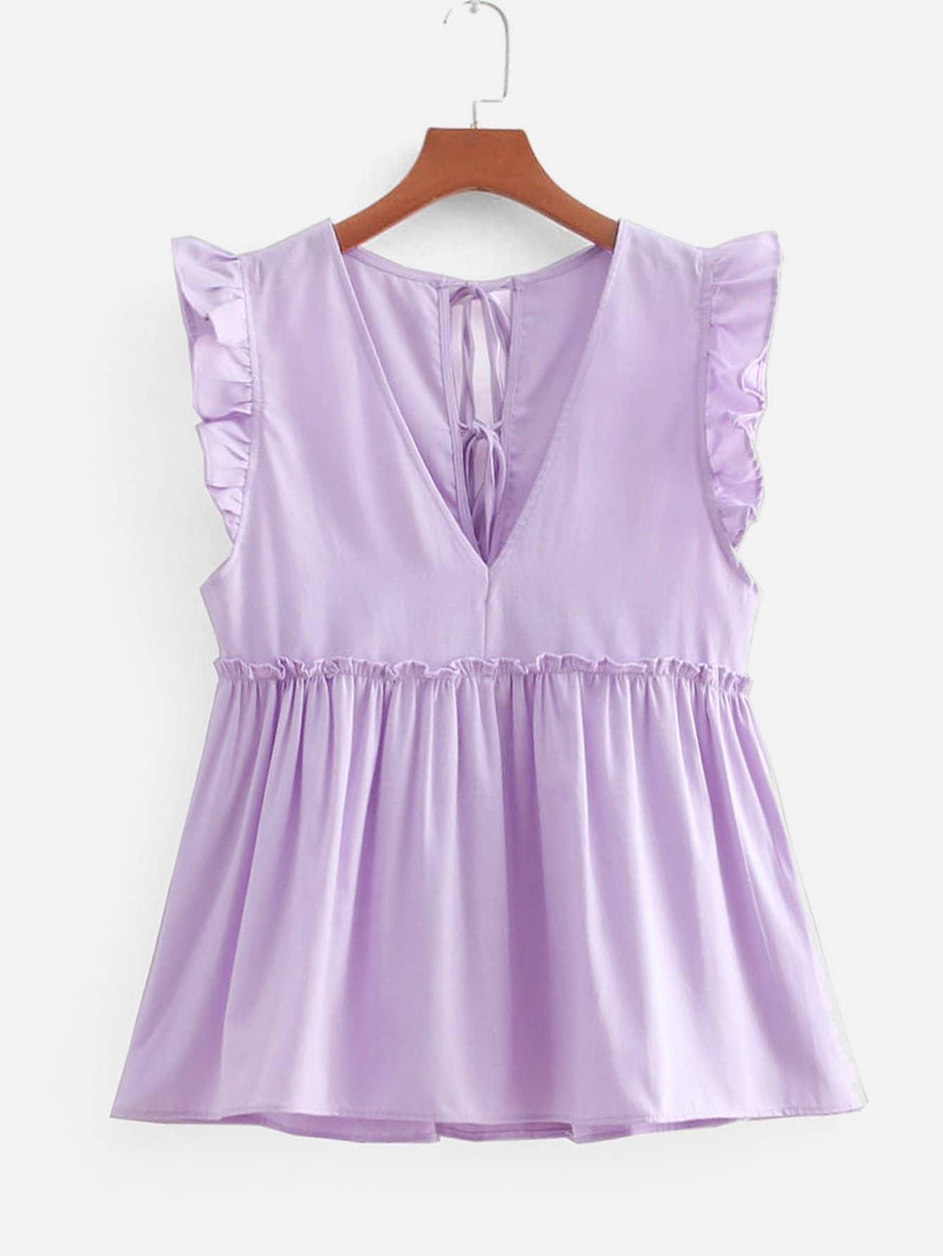 Frill Trim Babydoll Blouse frill trim blouse with denim skirt