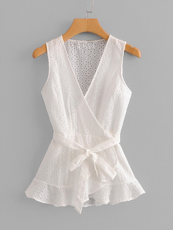 Eyelet Embroidered Wrap Blouse