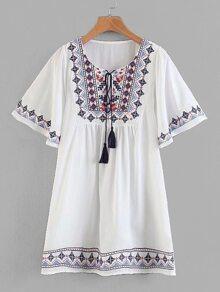 Geo Embroidered Tassel Tie Babydoll Dress