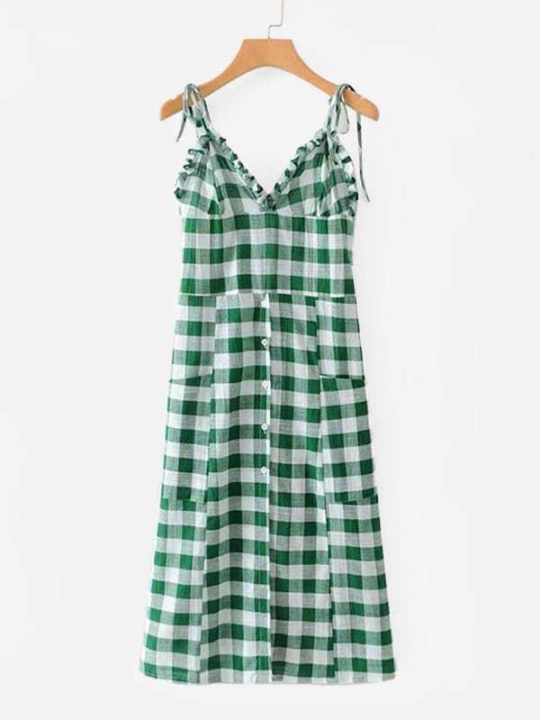 Check Plaid Frill Trim Cami Dress open shoulder frill trim plaid dress