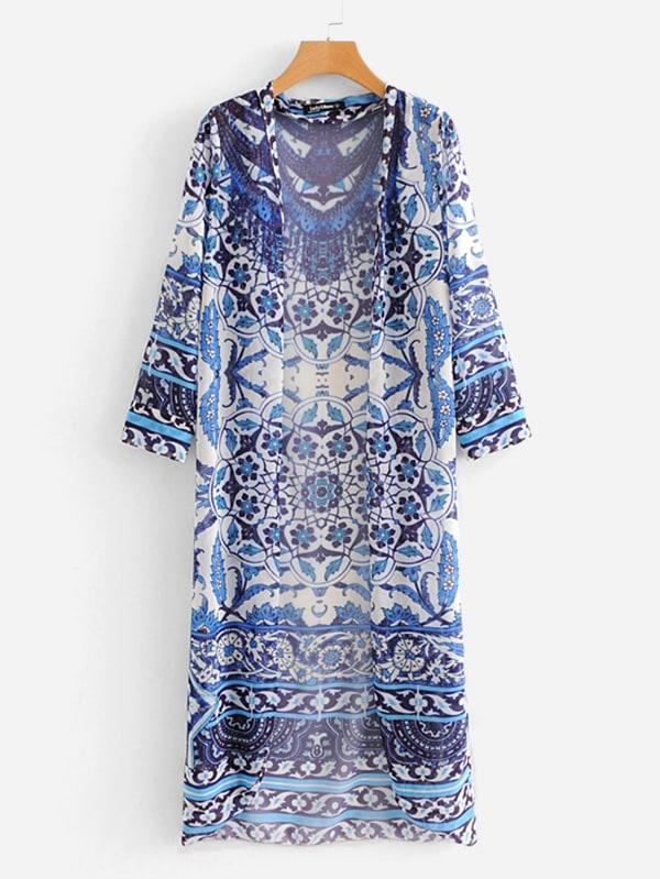 Mandala Print Longline Kimono rib knit longline kimono
