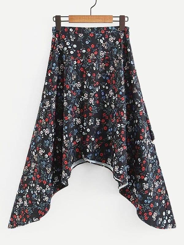 Calico Print Asymmetric Skirt calico print tights