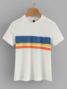 Contrast Panel Ribbed Tee