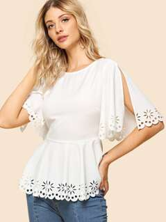 Split Sleeve Laser Cut Peplum Top