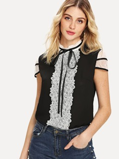 Lace Detail Two Tone Top