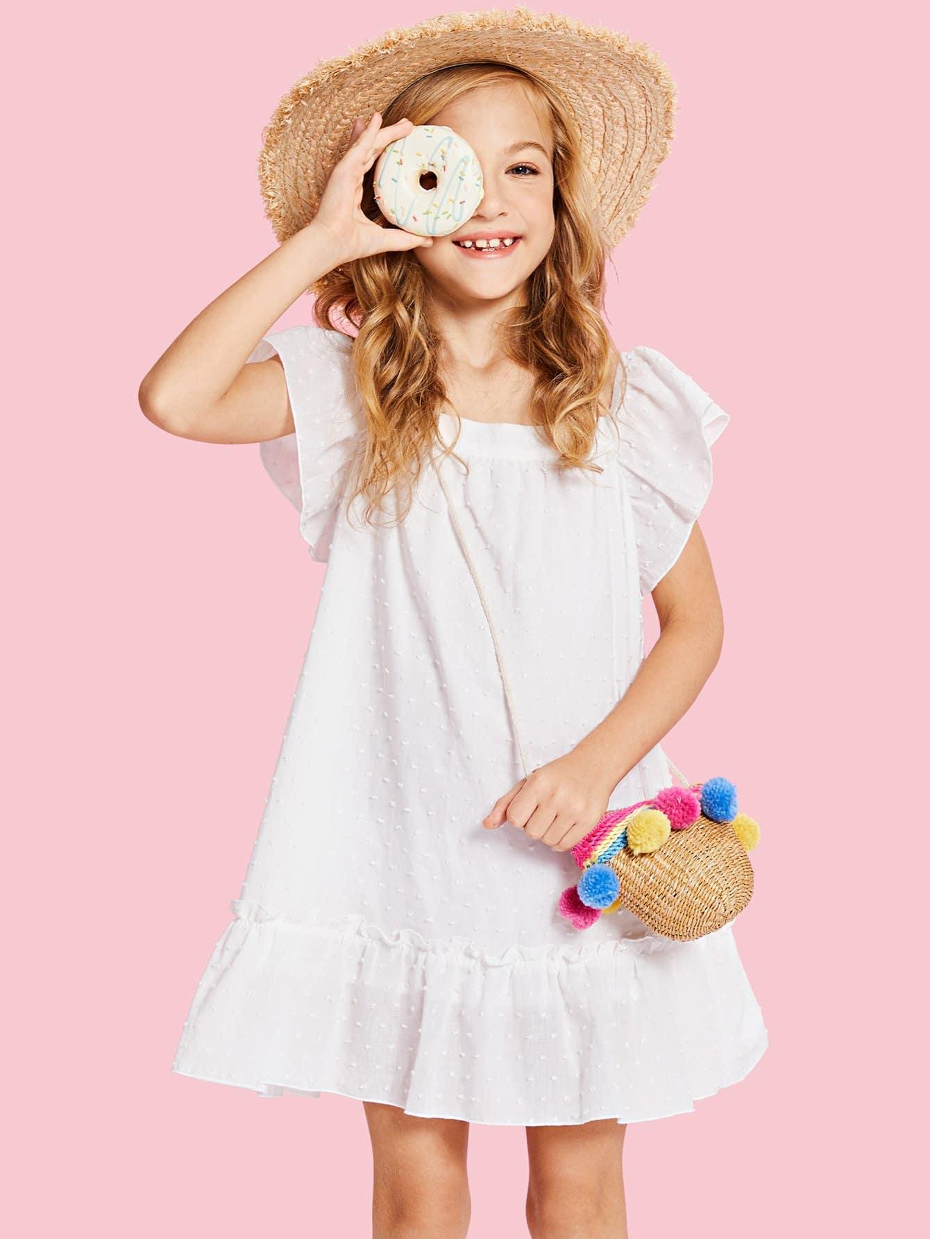 Flutter Sleeve Dot Embroidery Flounce Dress flounce sleeve eyelet embroidery dress