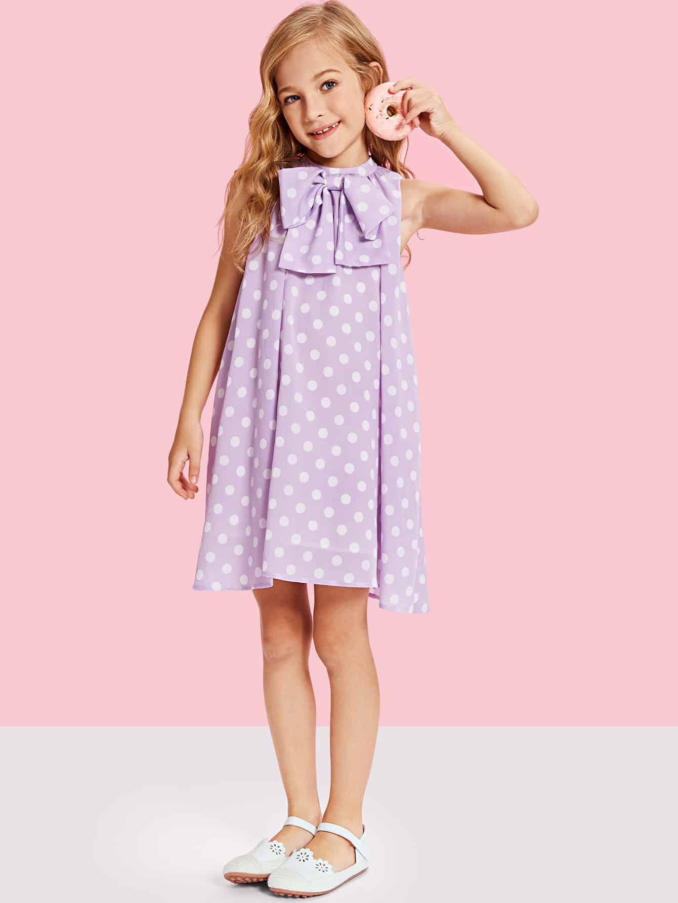 Bow Embellished Polka Dot Swing Dress low cut polka dot swing dress