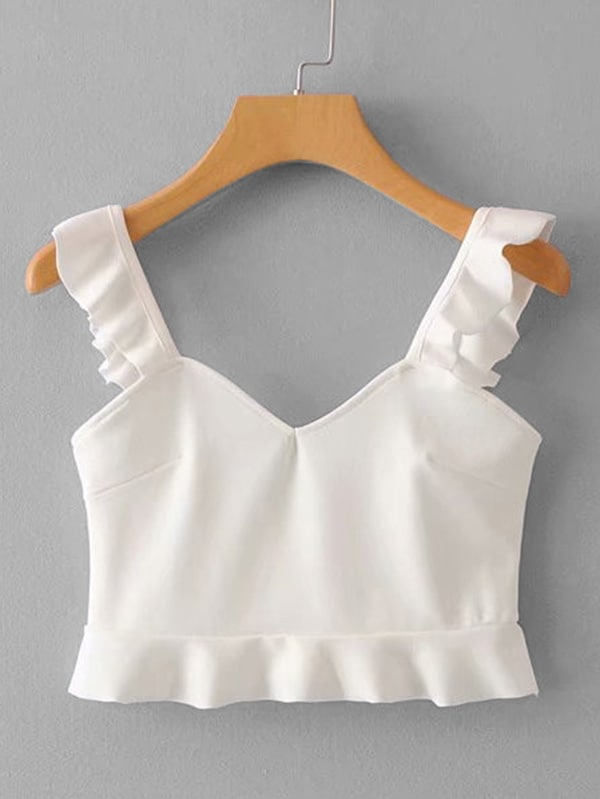 Ruffle Trim Solid Top lace trim solid top