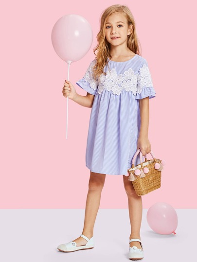 938764becbfd5 Guipure Lace Striped Smock Dress | SHEIN UK