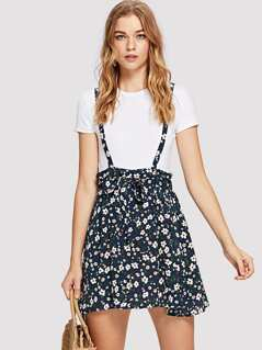 Drawstring Waist Ditsy Floral Skirt with Strap