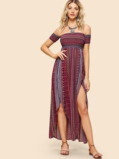 Tribal Print Shirred Bodice Split Dress