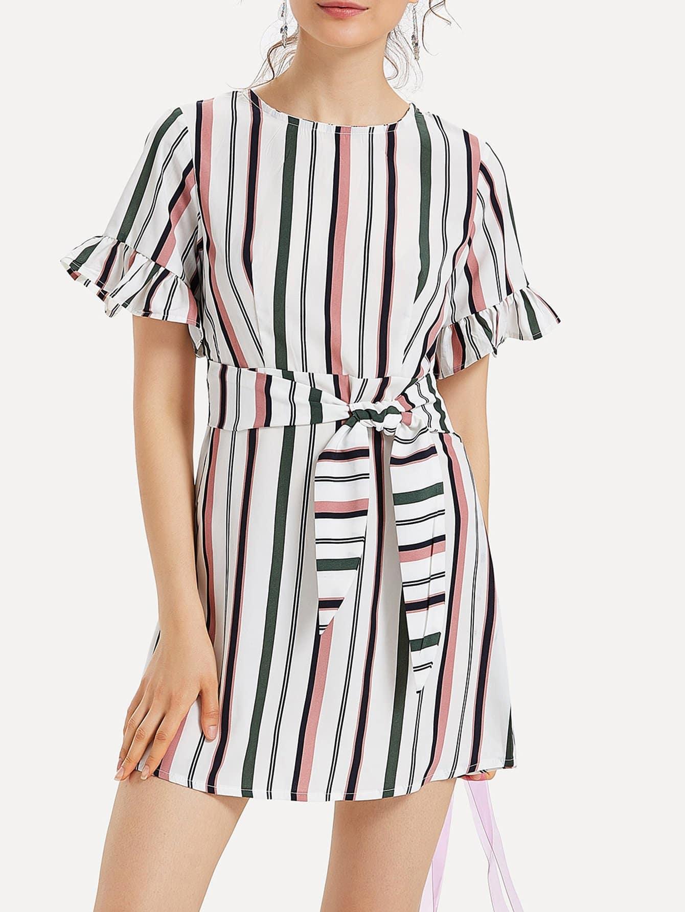 Split Back Tie Waist Striped Dress one shoulder waist knot split striped dress