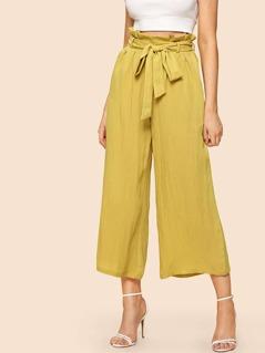 Belted Ruffle Waist Culotte Pants