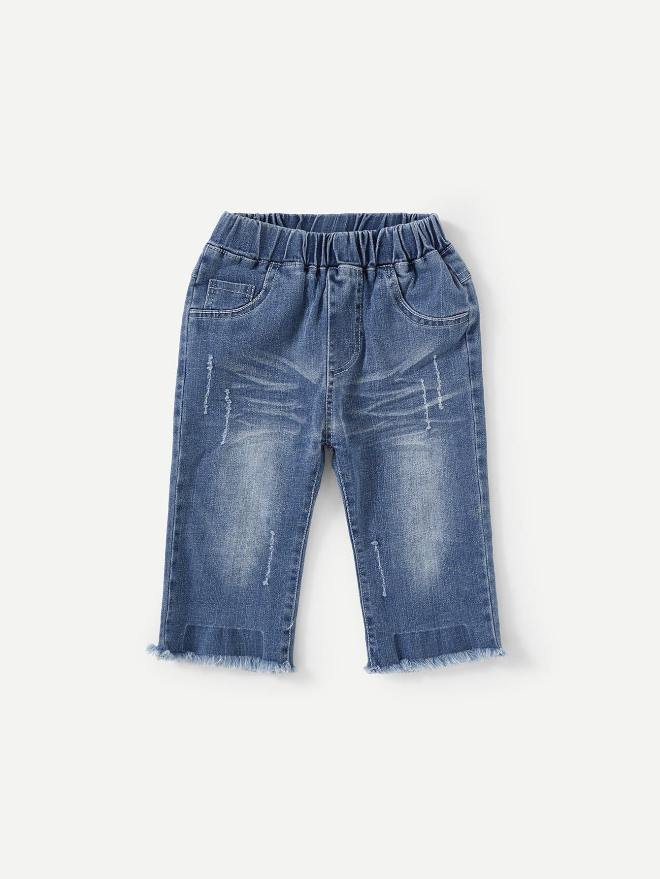 Boys Letter Print Rolled Hem Denim Shorts