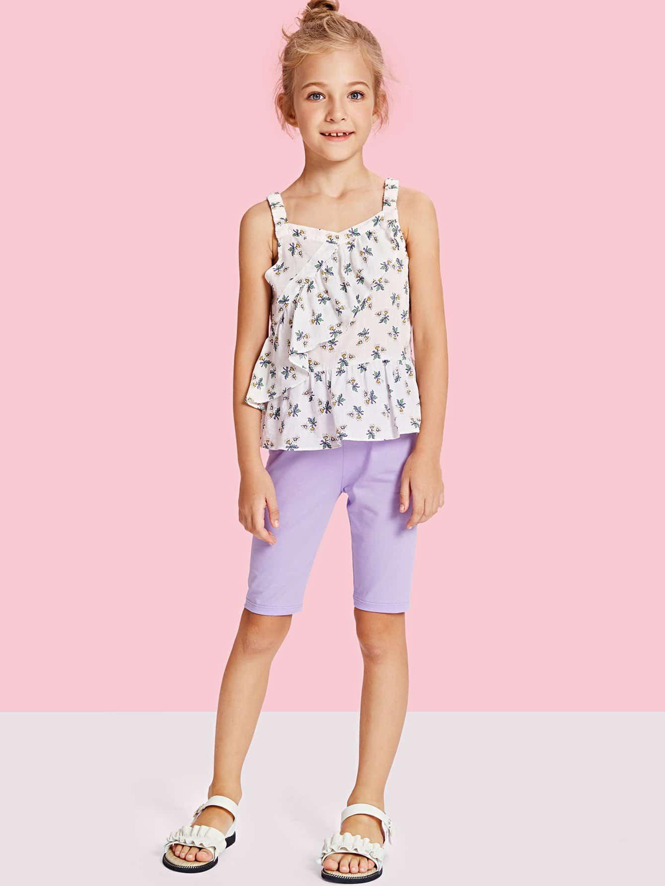 Фото Girls Calico Print Ruffle Trim Top & Solid Pants Set